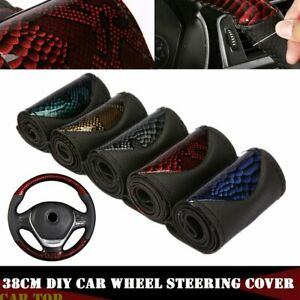 5 Colors Diy 38cm Leather Car Truck Auto Steering Wheel Cover W Needle Thread