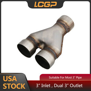 Tailpipe Tip Y Pipe Single 3 Inlet Dual 3 Outlet Exhaust Adapter Connector