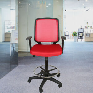 Mesh Mid Back Office Drafting Bar Chair Counter High Stools Swivel Home Red