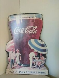 Vintage 1990 Reproduction Coca Cola Giant Glass with People Cardboard Cutout