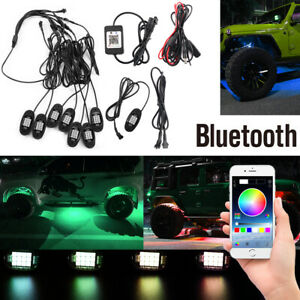 8 Neon Led Rock Light Kit Bluetooth App Control Underglow For Offroad Car Usa