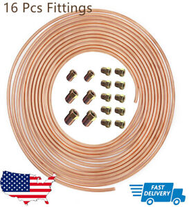 25 Ft Of 3 16 In Copper Nickel Coil Brake Line Flexible 16 Fittings Sae Thread