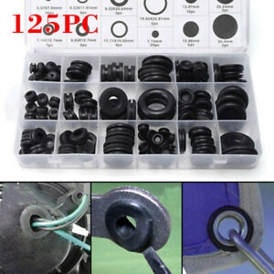 125pcs Rubber Grommet Blanking Wire Gasket Solid Hole Plug Assortment Tools Set
