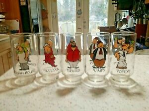 VINTAGE 1975 COCA COLA KOLLECT-A-SET POPEYE DRINKING GLASSES ~ SET OF 5