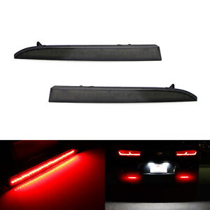 Smoked Lens 28 smd Red Led Bumper Reflector Lights For 16 up Chevrolet Camaro