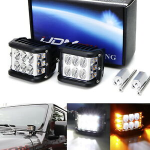 White Led A Pillar Driving Light Kit W Amber Strobe Feature For Jeep Wrangler Jl