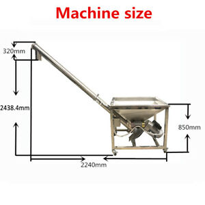 96 Inch Powder Screw Vibrating Hopper Inclined Conveyor Machine Auger Feeder