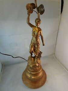 Arts French Lamp Vintage Lady Figure Beautiful Nouveau France Rare