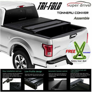 Fits 1999 2019 Ford F250 F350 Super Duty Lock Tri fold Tonneau Cover 6 5ft Bed