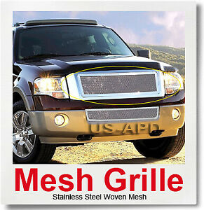 Fits 2007 2014 Ford Expedition Main Upper Stainless Chrome Mesh Grille Insert