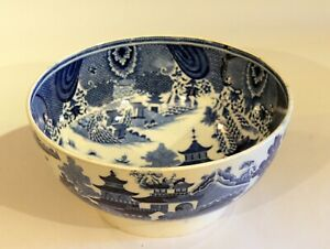 Pearlware Pottery Spode Antique Blue Willow Queen Charlotte English Bowl