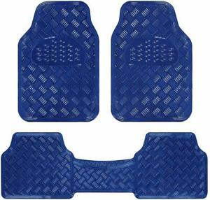 Blue Sleek Metallic Design Car Floor Mats 3pc Heavy Duty W Rubber Backing