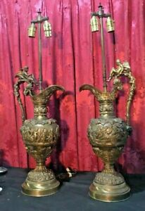 Pair Of Antique Victorian French Style Figural Bronze Ewer Table Lamps