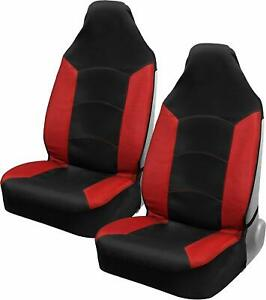 Black red High Back Car Seat Covers Breathable Mesh Garbadine Two fabric