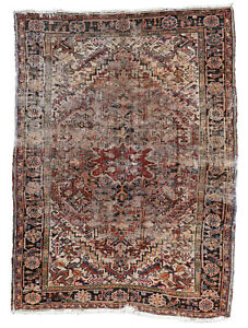 Vintage Distressed Persian Heriz Rug 4 X6 Red Black Hand Knotted Wool Pile