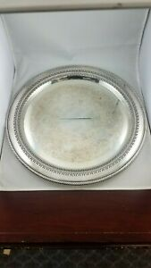Wm Rogers Large Round Serving Tray Silverplate Vintage Decorative Design 162 15