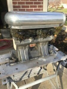 Weiand Tunnel Ram Intake Manifold Small Block Chevy 2 600 Holley Carbs Scoop