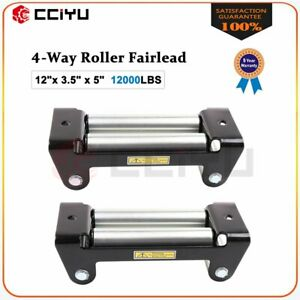 Super Heavy Duty Winch Roller Fairlead 10 Universal 4 Way Roller Cable 2pcs