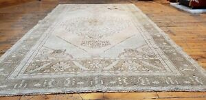 Rare Antique 1900 1939 S Muted Natural Dye Wool Pile Oushak Area Rug 4 3 X7 4