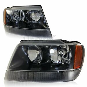 For 1999 2004 Jeep Grand Cherokee Black Housing Amber Reflector Headlights