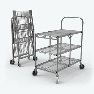 Luxor 3 shelf Collapsible Wire Utility Cart 33 75 X 19 5 X 39 5 silver Ws