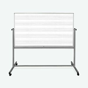 Luxor 72 X 48 Reversible Magnetic Mobile Music Whiteboard 74 5 w X 23 d X 72 h