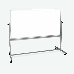Luxor 72 X 40 Reversible Magnetic Mobile Whiteboard 74 5 w X 23 d X 69 h silv