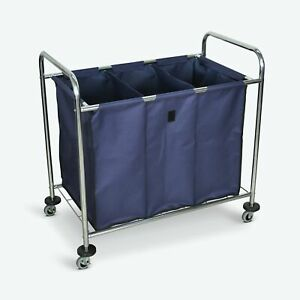 Luxor Industrial Laundry Cart W 3 compartment Navy Canvas Bag Steel Frame 36