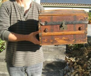 Antique Salesman S Sample Tiny Steamer Travel Trunk Chest