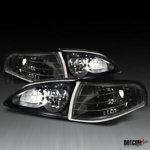 For 1994 1998 Ford Mustang Black Headlights Clear Corner Lights Turn Signal Lamp