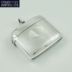 Nice Antique Victorian Sterling Silver Vesta Case A J Zimmerman 1901