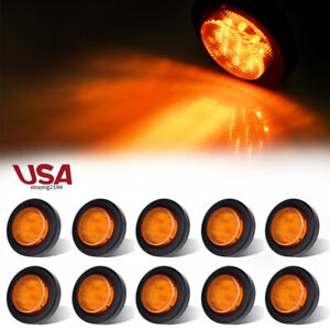 10 Amber 2 Round 9 Led Side Marker Clearance Yellow Light Car Trailer Tail Lamp