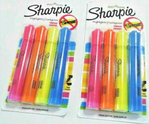 New Sharpie Fluorescent Highlighters Smear Guard 4 Assorted Sealed