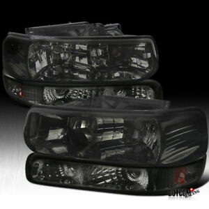 For 1999 2002 Silverado 2000 2006 Tahoe Suburban Smoke Headlights bumper Lamps