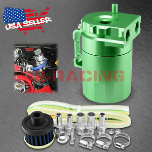 Green Aluminum Engine Oil Catch Reservoir Breather Tank Can Cylinder Filter 3