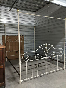 Heirloom Quality Vintage Iron Four Poster Canopy King Bed Custom By Elliott S
