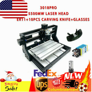 Cnc 3018pro 2 In 1 Router Kit 5500mw Laser Head Mill Engraver Machine 3axis Er11