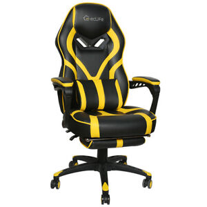 Ergonomic Office Computer Gaming Chair Racing Chair High Back Footrest Yellow