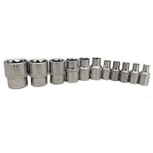 11pcs E Torx Star Bit Female Socket Set Automotive Shop Tools 1 4 3 8 E4 E20