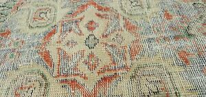Antique 1949 S Distressed Wool Pile Muted Vegitable Dye Oushak Area Rug 7x10ft
