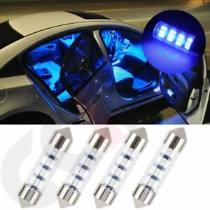 4pc 36mm For Replacement Car Interior Bulb Festoon Blue Led Lamps 3014 12 Smd Us