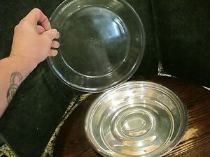 English Silver Mfg Corp Serving Dish Bowl Made In Usa With Glass Pyrex Cover Lid