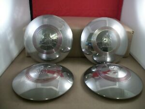 Set Of 4 1940 s Vintage Plymouth Dog Dish Hubcaps With Clipper Ship 9