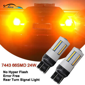 2x 7443 Canbus Error Free Led Turn Signal Lights Amber Yellow Actual Power 24w