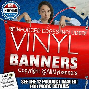 4 X 8 Custom Vinyl Banner 13oz Full Color Free Basic Design Included Prc