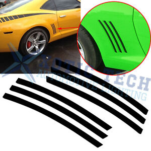 Black Vinyl Body Side Vent Quarter Strip Stickers For Chevy Camaro 5th 2010 2015