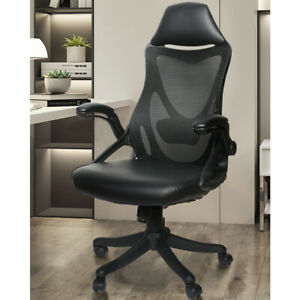 Office Chair Ergonomic High Back High Executive Computer Desk Mesh Pu Black
