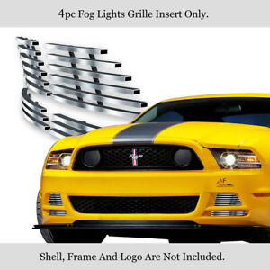 Fits 2013 2014 Ford Mustang Gt Stainless Steel Fog Light Cover Billet Grille