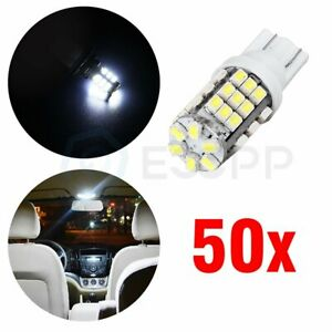 50pcs Replace Bulbs T10 W5w 194 White 3528 42smd Led License Plate Tag Light
