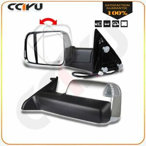 Chrome Power Heated Puddle Signal Tow Side Mirrors Pair For 09 15 Ram 1500 3500